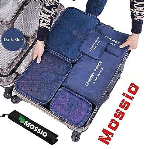 Packing Cubes,Mossio 7 Sets Waterproof Lightweight Laundry Organizer Dark Blue (Travel Set)