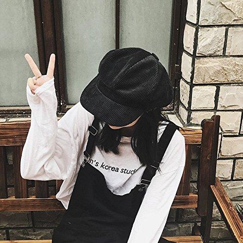 Corduroy Hat Cap Women Girls Beret Autumn Winter Warmth Unique Recreational Painter reported Bonnet Octagonal Cap