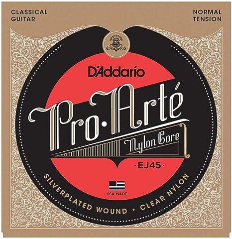 DAddario EJ45 - Juego de Cuerdas para Guitarra Clásica de Nylon (Tensión Normal), Transparente