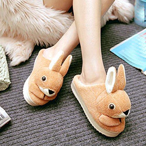 Giy Femmes Hiver Mignon Dessin Animé Lapin Pantoufles Intérieur En Peluche Doux Confortable Anti-dérapant Pantoufles Maison Pantoufle Jaune