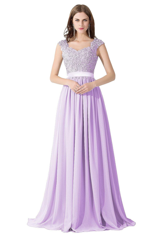 Damen Elegant Spitze Brautjungfernkleid A-Linie Chiffon Abendkleid ...