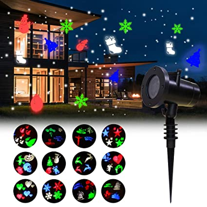 Amazon.com: COOSA 12 Patrones Decoracion Proyector Luces ...