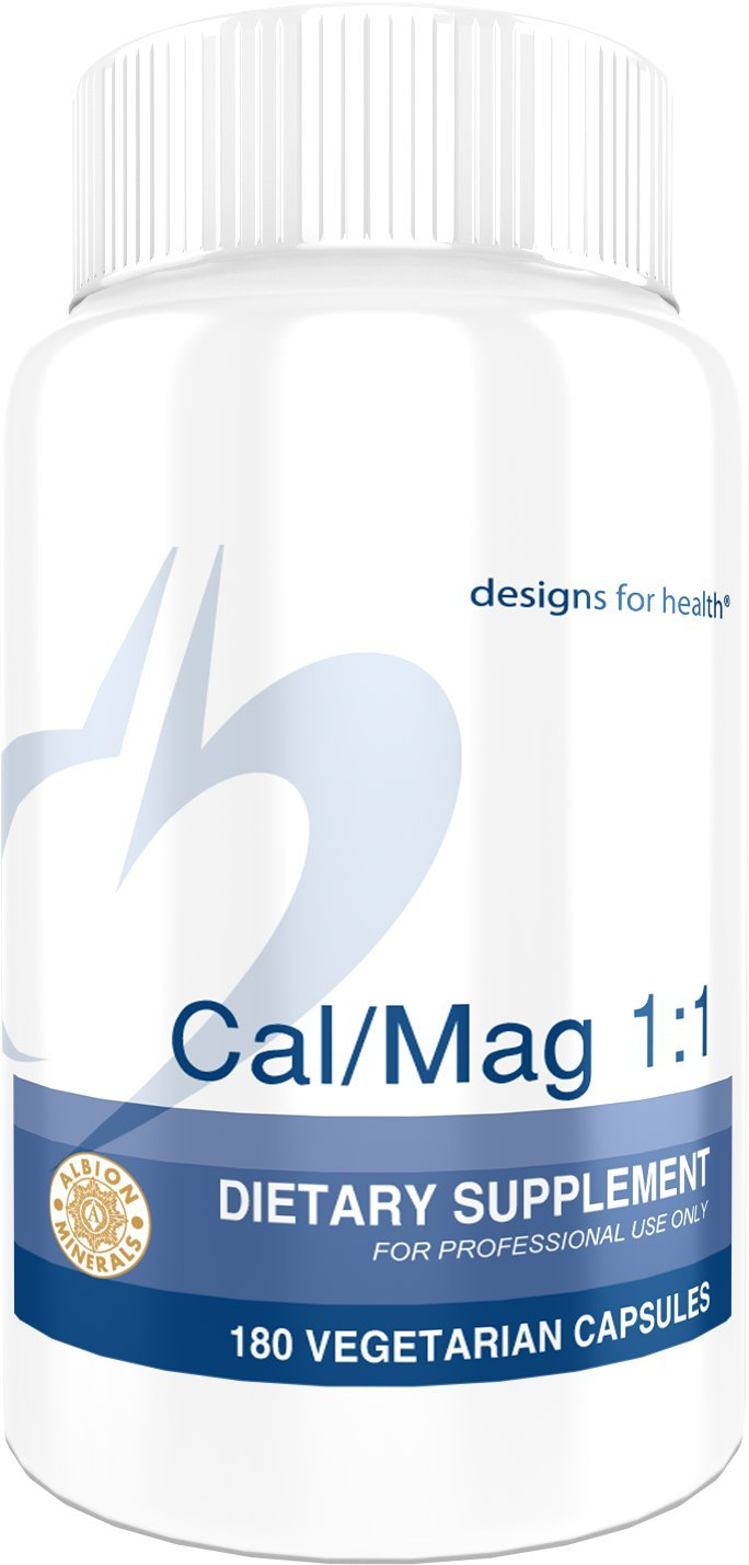 Designs for Health - Cal/Mag 1:1-200mg Chelated Magnesium Malate + Calcium Malate for Optimal Absorption, 180 Capsules