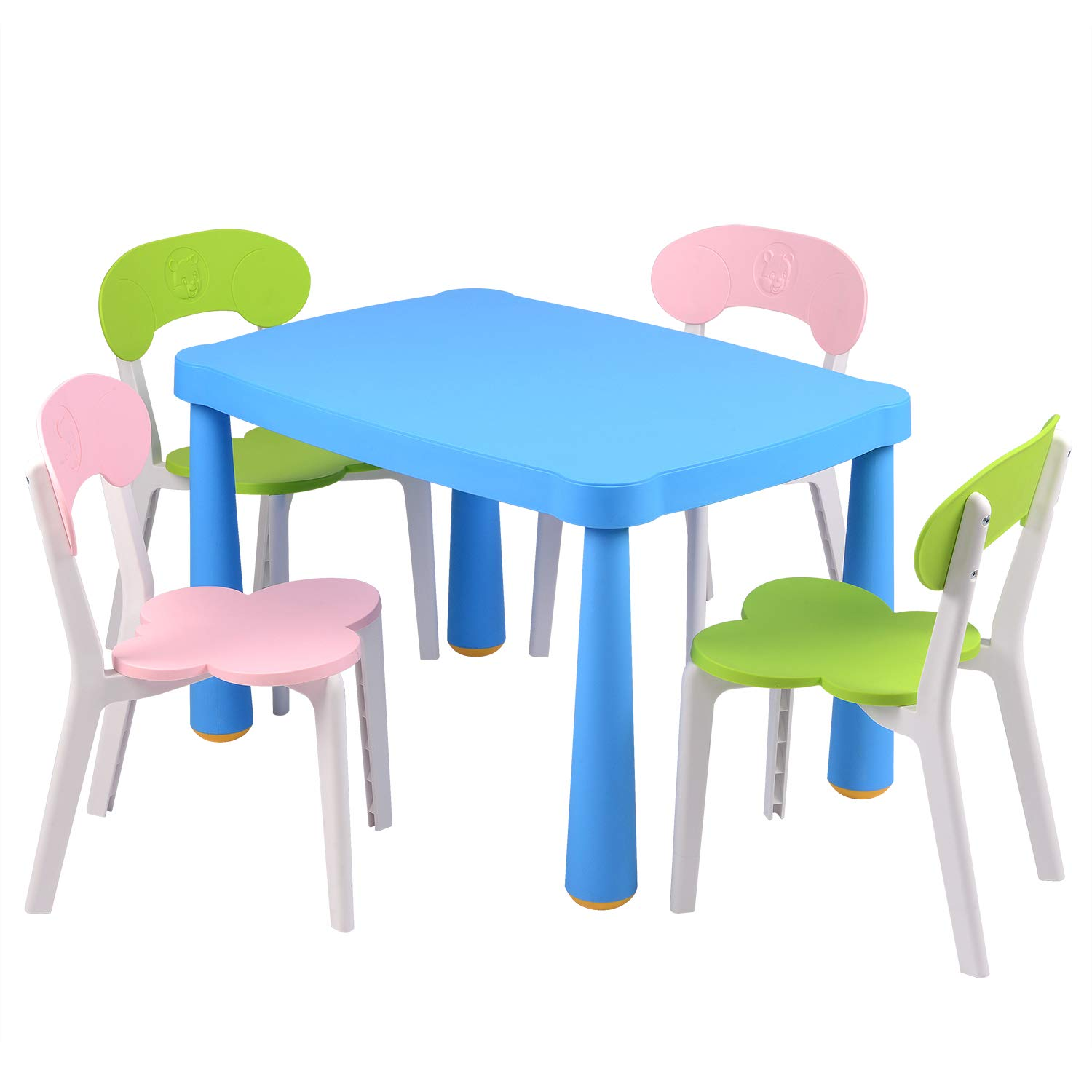Domi Furniture Kids Colorful Table and 4 Chair Set Funiture