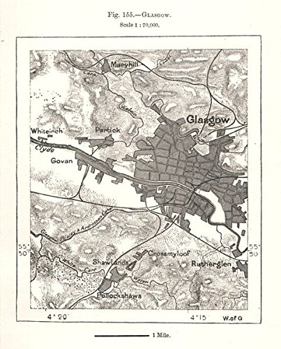 1885 Map (Glasgow town city plan. Scotland. Sketch map - 1885 - old map - antique map - vintage map - printed maps of Scotland)