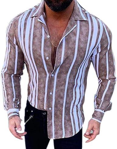 Camisa a Rayas para Hombre - Moda Manga Larga Botones Shirt Básica Otoño Primavera Casual Camiseta Blusa Tops: Amazon.es: Ropa y accesorios