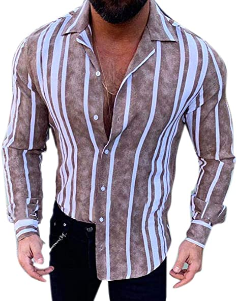 Camisa a Rayas para Hombre - Moda Manga Larga Botones Shirt ...
