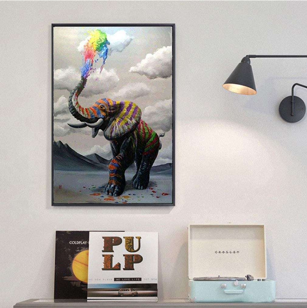 DIY 5D Diamond Painting by Number Kits Full Diamond Embroidery Paintings Pictures Arts Craft for Home Wall Decor Colorful Elephant Inches 11.8x15.7 Full Drill 30x40 cm//