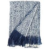 Rivet Oversized Ombre Stripe Brushed Weave Throw Blanket, 60' x 80',...