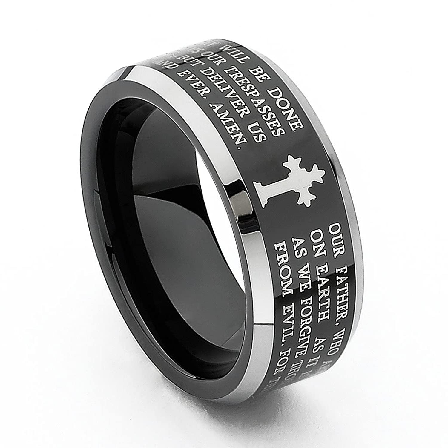 Amazon 8mm Lord s Prayer Beveled Edge Men s Tungsten Wedding