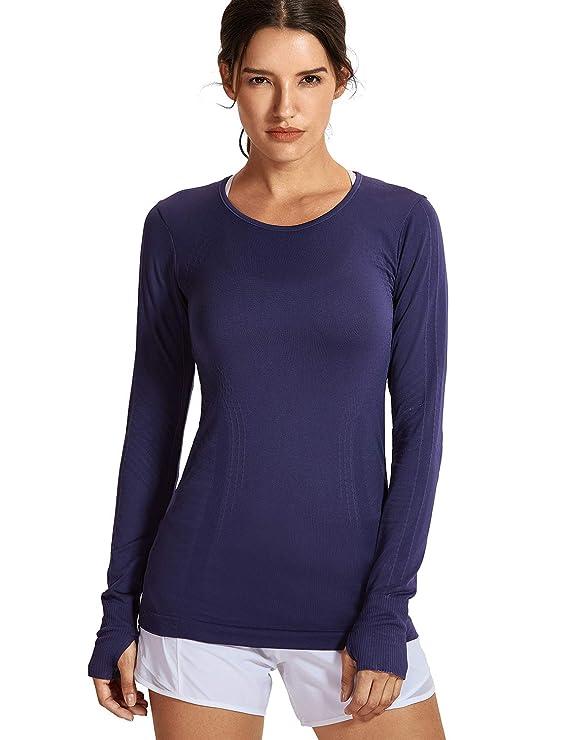 SYROKAN Femme T-Shirt de Sport à Manches Longue sans Couture Chemise Running   Amazon.fr  Vêtements et accessoires 6938686cb48