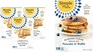 product image for Simple Mills Almond Flour Crackers, Fine Ground Sea Salt, Gluten Free, Flax Seed, Sunflower Seeds, 3 Count & Almond Flour Pancake Mix & Waffle Mix, Gluten Free, Made with whole foods