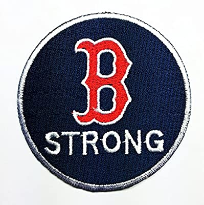MLB Boston Red Sox, B Strong Patch Embroidered Iron on Hat Jacket Hoodie Backpack Ideal for Gift/ 7.5cm(w) X 7.5cm(h)