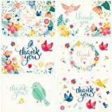 Thank You Cards - 36 Assorted Floral Blank Thank-You Notes with Envelopes & Gold Stickers - Ideal for a Wedding, Baby Shower, Bridal, Birthday, Graduation, Business, Sympathy - Bulk 4x6 Photo Size