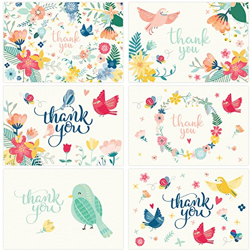 Thank You Cards - 36 Assorted Floral Blank Thank-You Notes with Envelopes & Gold Stickers - Ideal for a Wedding, Baby Shower, Bridal, Birthday, Graduation, Business, Sympathy - Bulk 4x6 Photo Size by JustLovely