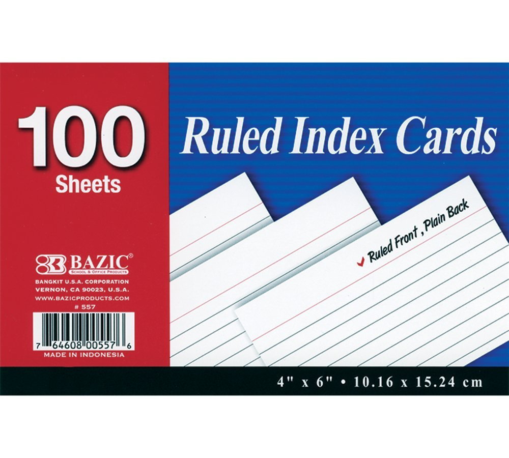 BAZIC 100 Ct. 4'' X 6'' Ruled White Index Card (Case of 24)