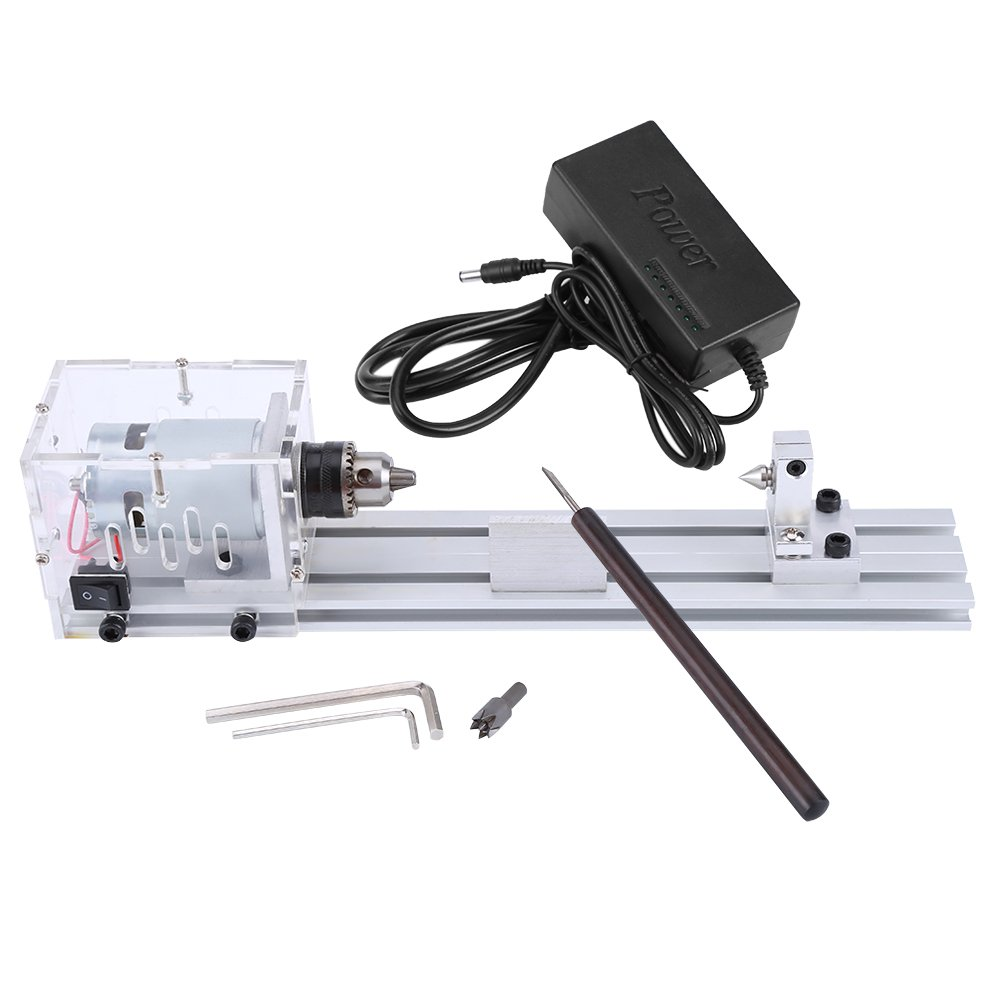Zerodis 220V 80W Mini Lathe Machine Woodworking DIY Lathe Set with Power Adapter