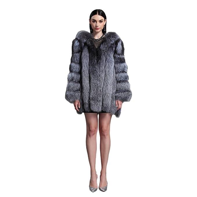 Fur Story 151216 Para Mujer Largo Real Piel de Zorro Abrigo piel de zorro de plata 44: Amazon.es: Ropa y accesorios