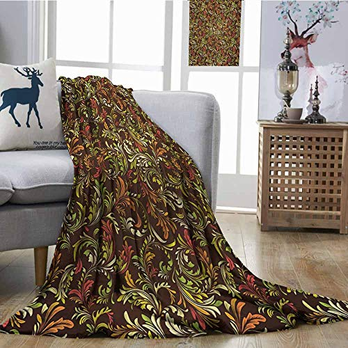 - Homrkey Decorative Throwing Blanket Earth Tones Antique Scroll Pattern with Royal Theme and Classical Details Curly Leaf Motifs Multicolor Comfortable for All Seasons W70 xL93