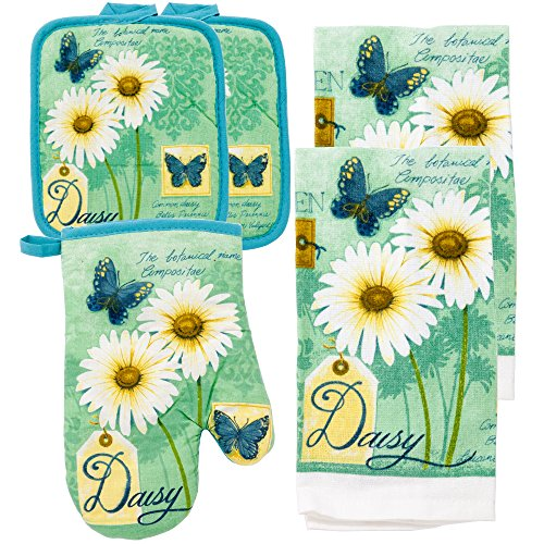 MJM Innovations Kitchen Towel Linen Set of 5 Pieces | 2 Kitchen Towels 2 Potholders & 1 Oven Mitten | Featuring Daisy Blue, Sunflowers Botanical Spring & Summer Colors Fresh Modern Decor (Daisy).