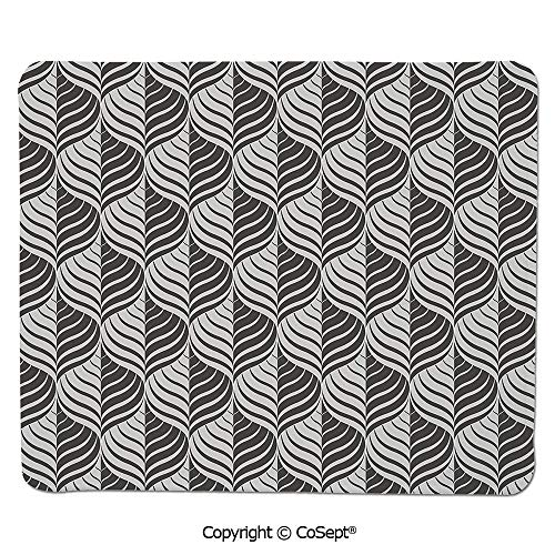 Non-Slip Rubber Base Mousepad,Monochrome Curves Pattern Abstract Leaf Design Floral Foliage Retro Look,for Computer,Laptop,Home,Office & Travel(11.81