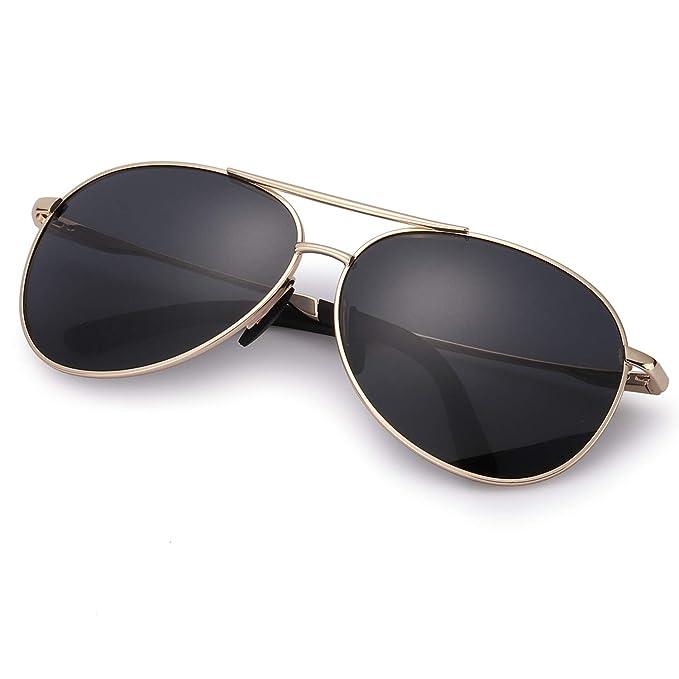 Gafas de Sol Hombre Aviador Polarizadas Anti Reflectante Ultraligero Metal para Conducir -100% Protección