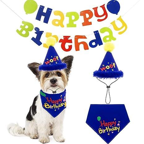 SCIROKKO Kit de decoración de cumpleaños para Perro, Bandana ...