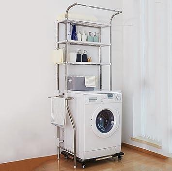 Estante de baño ajustable de acero inoxidable sobre la lavadora o ...