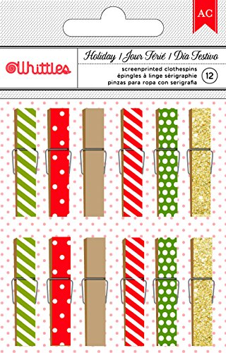 UPC 718813405614, American Crafts 12 Piece Christmas Dots & Stripes Clothespins