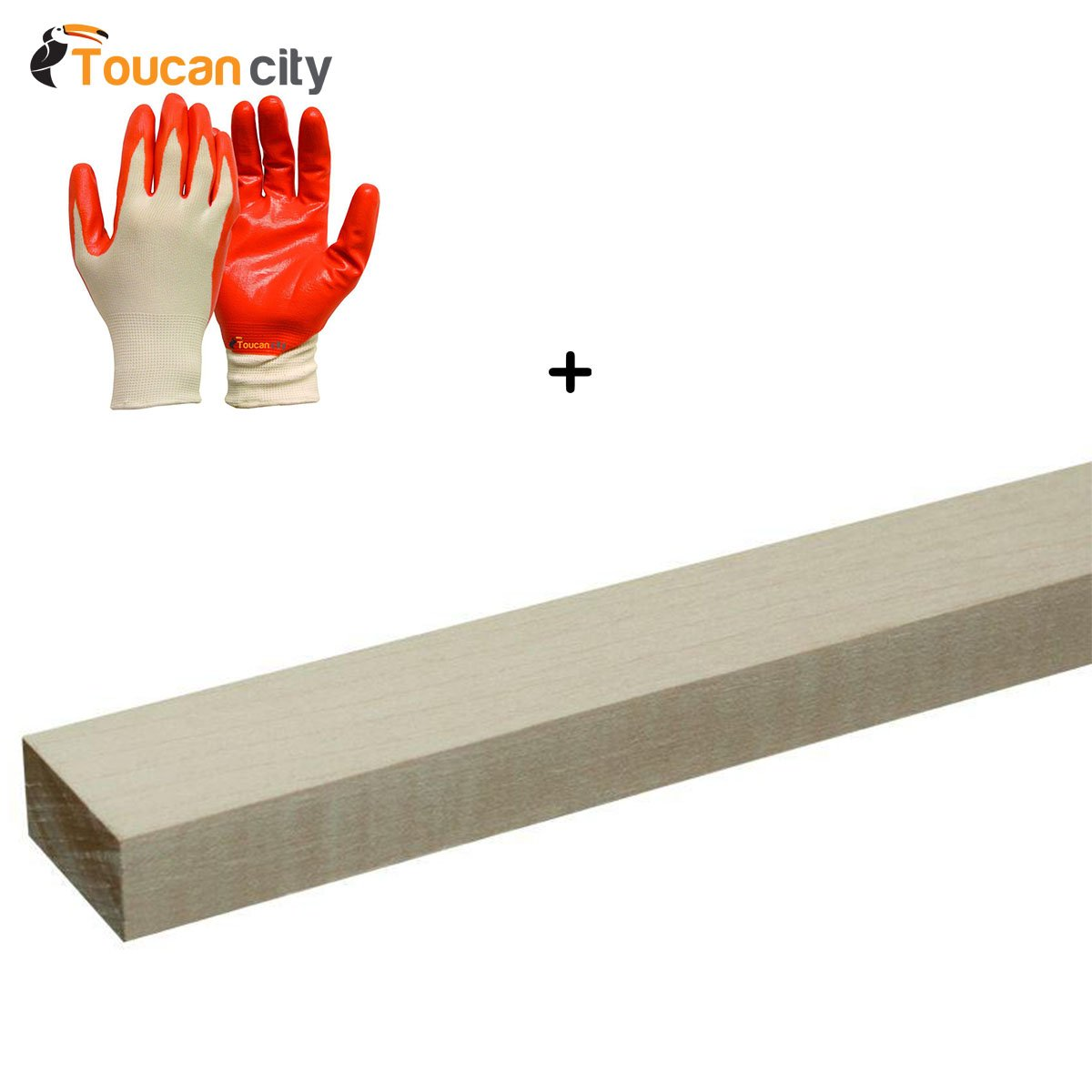 Toucan City Nitrile Dip Gloves(5-Pack) and Builders Choice 1 in. x 2 in. x 8 ft. S4S Maple Board (4 Piece/Bundle) HDSM1028XX