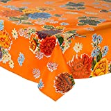 Mexican Floral Oilcloth Table Cover (120 witdth - long by half meters) Model chrysanthemum orange