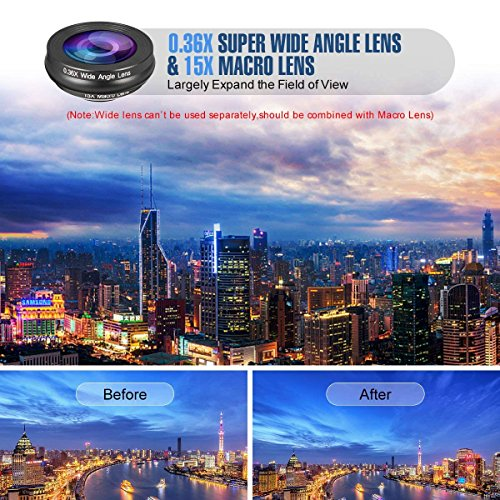 Phone Camera Lens,3 in 1 Phone Lens,0.36X Super Wide Angle Lens+15X Macro Lens+230°Fisheye Lens 3 in 1 HD Cell Phone Camera Lens Kit for iPhone X/8/8Plus/7/7 Plus/6s/6/5, Samsung and Most Smartphones by ChenChung Direct (Image #4)