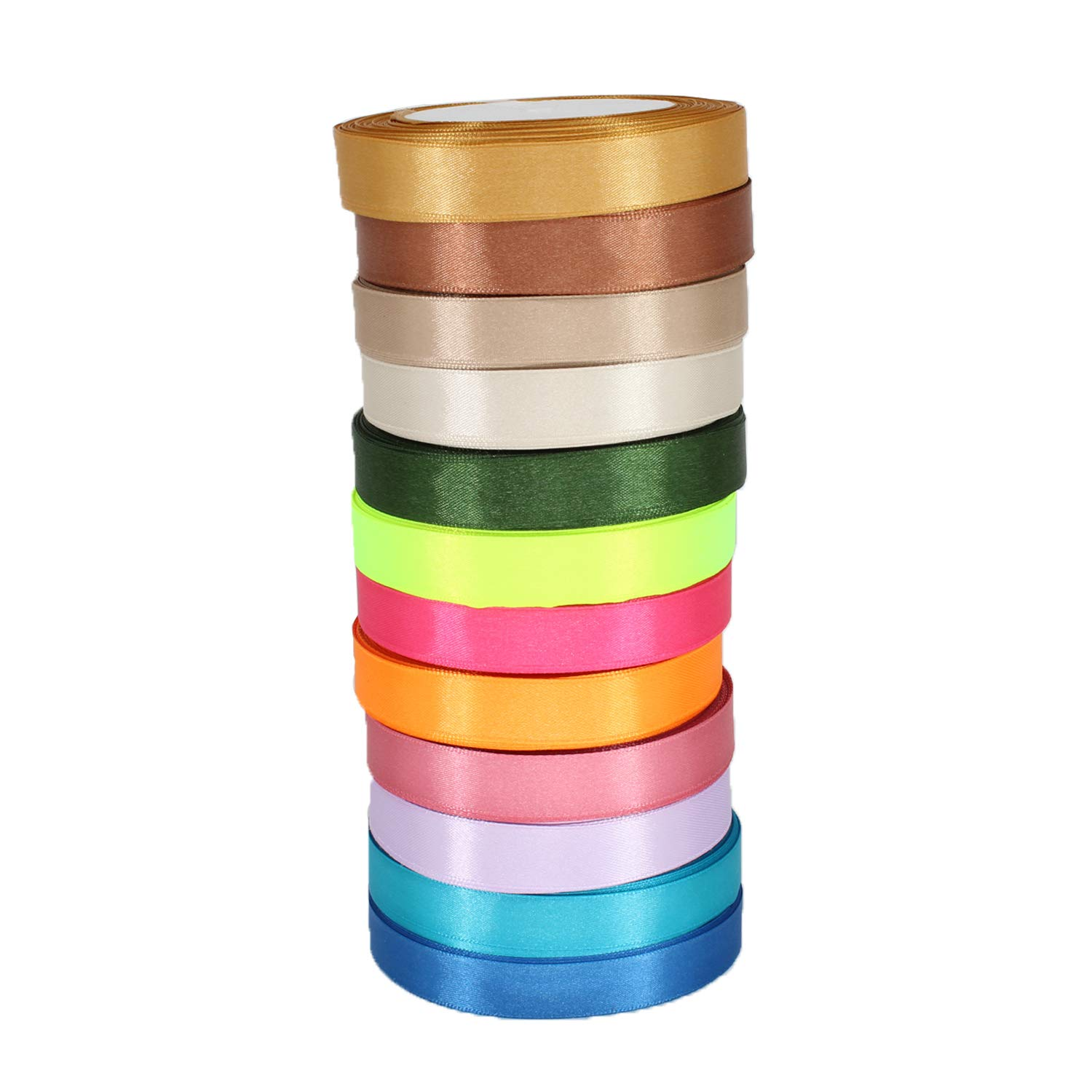 Trimming Shop 6mm Satin Ribbon Rolls - 13 Assorted Colours - VALUE PACK - Polyester Ribbons for Fabric, Arts and Crafts, Bows, Wedding, Birthday Cake and Home Decoration (Option 1)