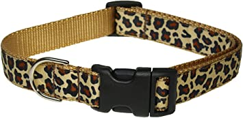 Leopard Purple Dog Collar Size Large 18 to 28 Long Made in The USA