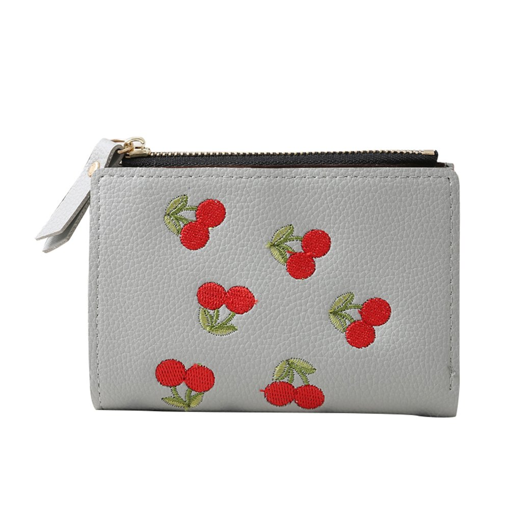 Connoworld Cherry Embroidered Fashion Women Short Bifold Wallet Purse Pouch Card Holder Clutch Key Cash Coin Bag