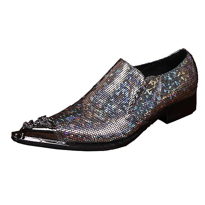¥*Shoes Zapatos de Vestir Hombres Mocasines de Cuero Lentejuelas Brillantes Zapatos de Boda Formales: Amazon.es: Ropa y accesorios