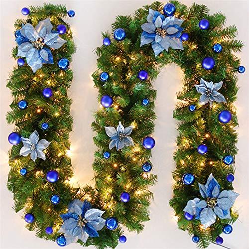 TopHGC Guirnalda de Navidad, 2.7M Chimeneas Escaleras Guirnaldas Decoradas Luces LED Adorno Corona de Navidad para decoración del hogar (Azul)