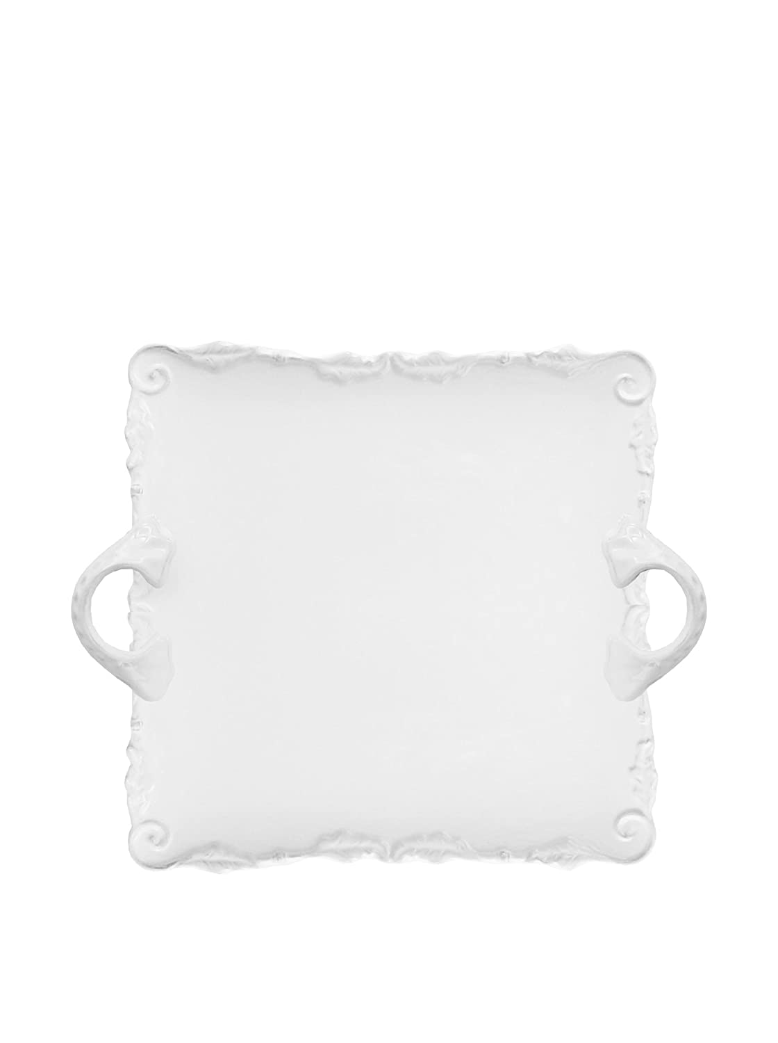 Christmas Tablescape Décor - Bianca Wave White Square Handled Ceramic Platter by American Atelier Bianca