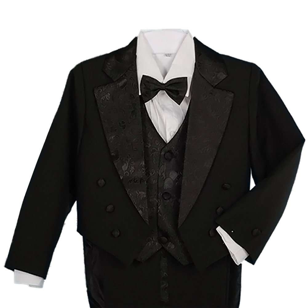 Dressy Daisy Boys' Classic Fit Tuxedo Suit with Tail 5 Pcs Set Formal Suits Wedding Outfit Size 7 Black