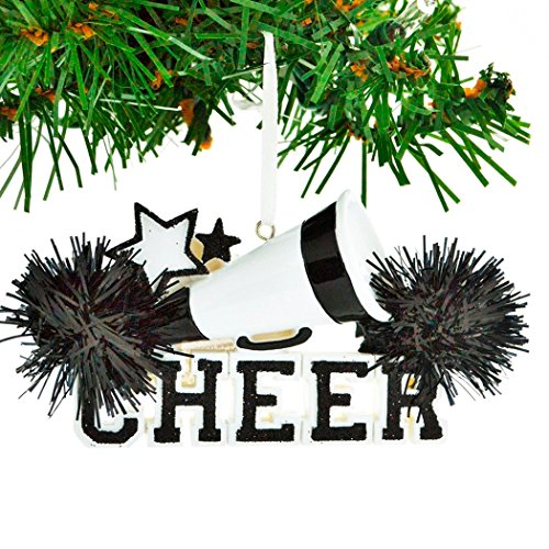 (Personalized Cheer Christmas Tree Ornament 2019 - Black Cheerleader Megaphone Star with Real Pompom Competition Girl Team Dancer High School Loud Proud Year - Free)