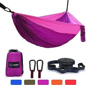 Camping Hammock, Lightweight Portable Garden Double Hammocks - Premium Nylon Parachute Hammock with Tree Straps for Backpacking Travel Beach Yard