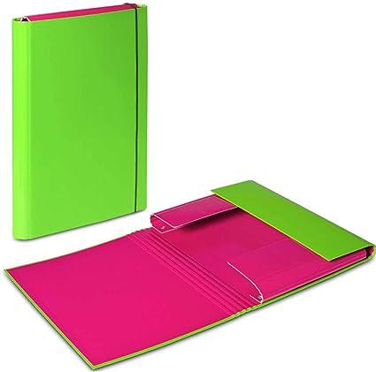 5 x verde – Rosa A4 documento carpeta elástica banda caja de almacenaje organizador de archivos carpetas tamaño folio papel cartón duro Duo colores: Amazon.es: Oficina y papelería