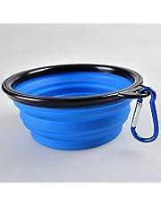 INOlite - Cuenco plegable portátil para mascotas, cuenco de viaje, comedero de comida para perro, cuencos plegables con mosquetón (azul)