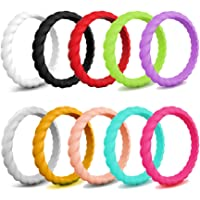 JewelryWe Pack of 10 Silicon Rings for Women Stackable Thin Braid Rubber Wedding Bands
