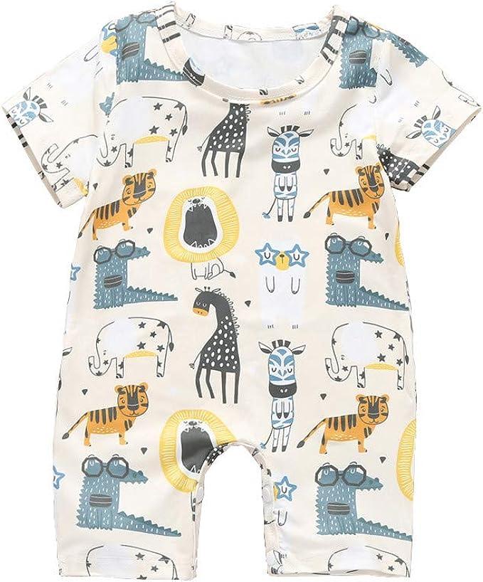 Babykleidung Sommer M/ädchen /Ärmellos Animal Print Overall Strampler