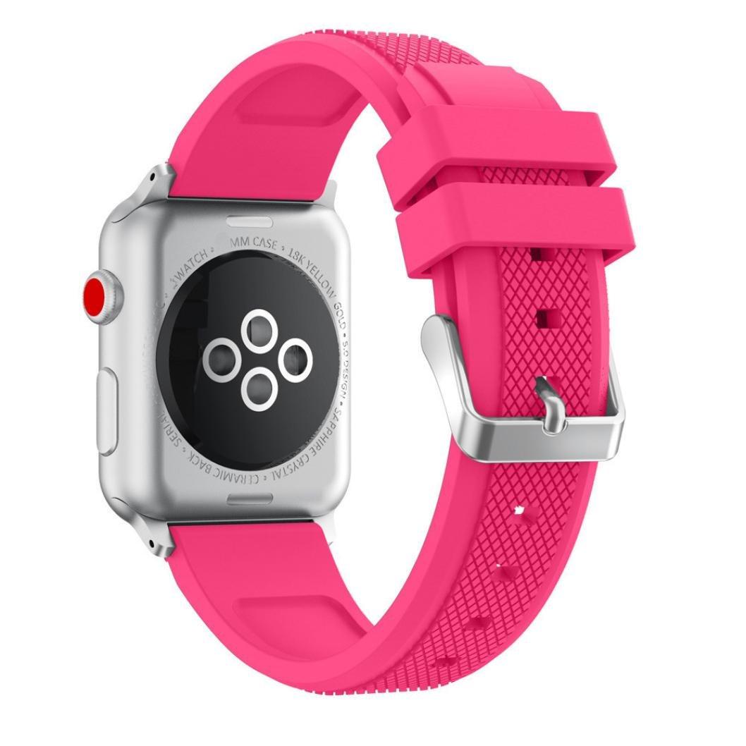 Tieanスポーツソフトシリコン交換スポーツバンドストラップfor Apple Watchシリーズ3 38 mm ピンク  ピンク B076DCKZTT