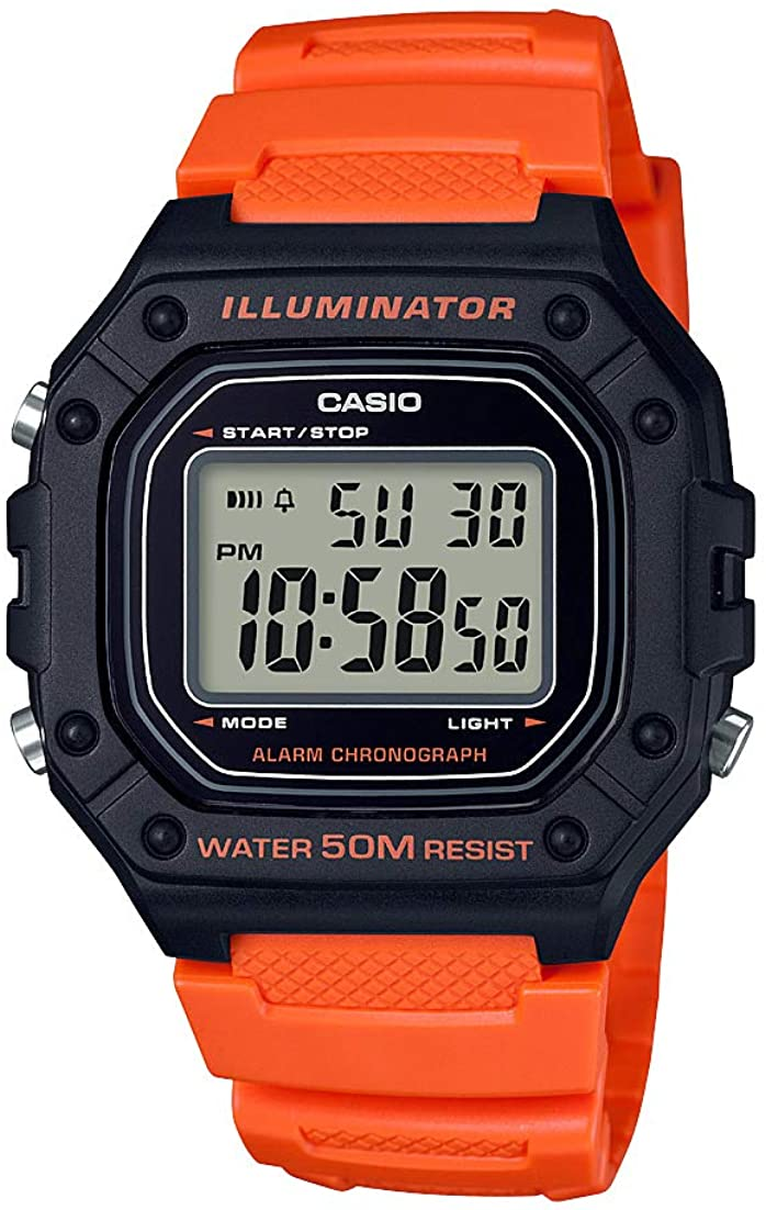 Casio Men's 'Classic' Quartz Stainless Steel and Resin Watch, Color:Orange (Model: W-218H-4B2VCF)