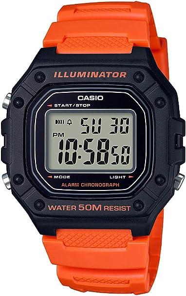 Casio 'Classic' Reloj de cuarzo de acero inoxidable y resina para hombre, color: naranja (modelo: W-218H-4B2VCF)