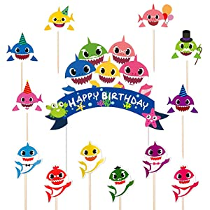 Kobit Baby Cute Shark Cake Topper Shark Birthday Cupcake Toppers Happy Birthday Cake Decoration for Kids Baby Shower Shark Themed Party Supplies (1+24 Pcs)