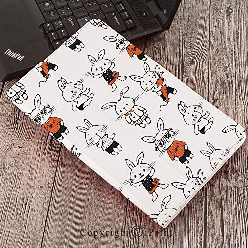 Samsung Tab S3 9.7 SM-T820 SM-T825 Tablet Case Protective Cover Crystal Case,Funny,Cute Retro Bunny Rabbits with Costumes Jack Hare Funky Bunnies Carrot Sketch Style,Orange White ()